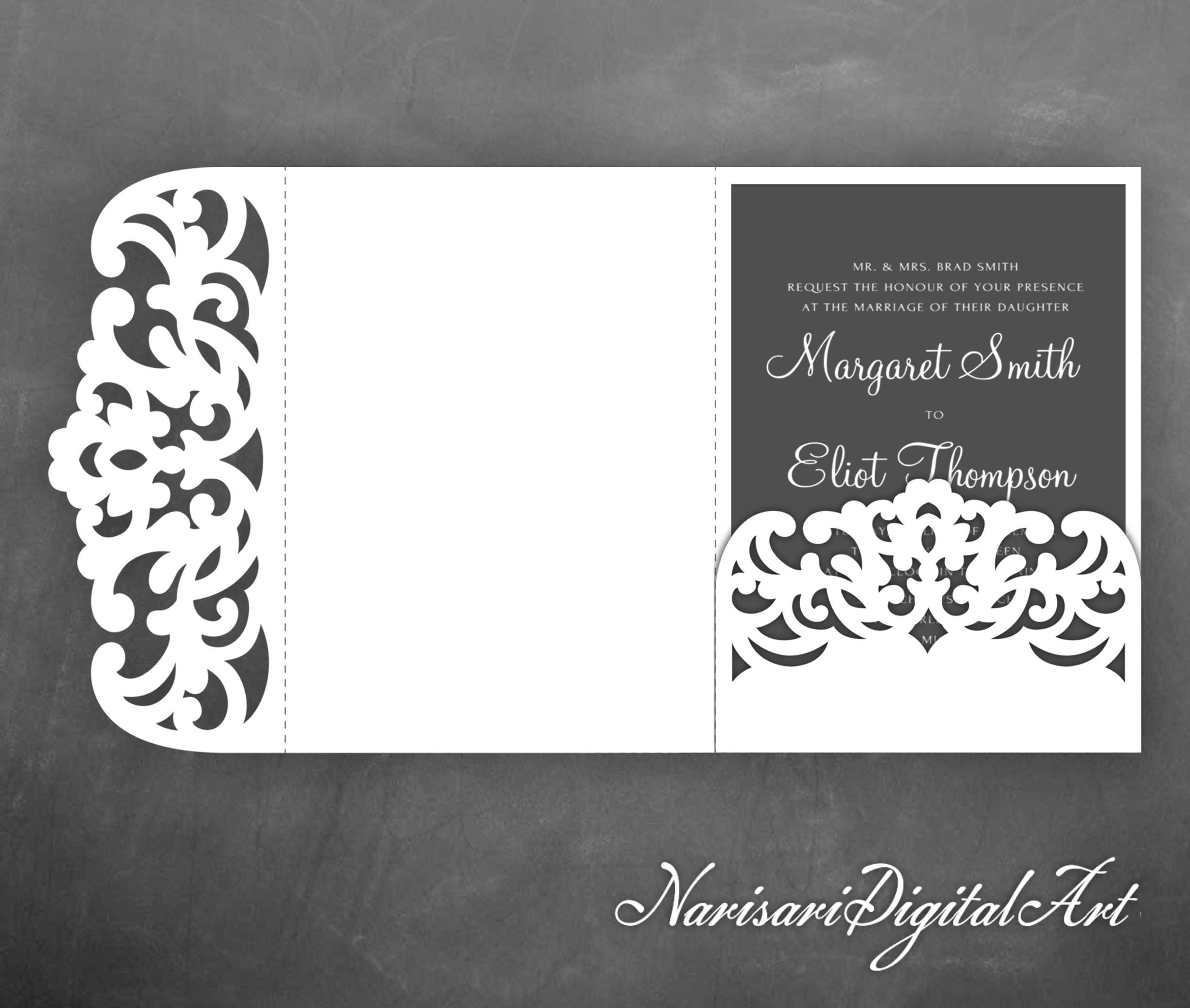 Tri-Fold Pocket Envelope 5x7 Wedding Invitation SVG Template