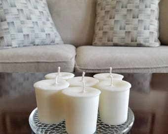 12 unscented or scented soy wax 2 oz votives. True white votives for the classiest of celebrations or just around the house!
