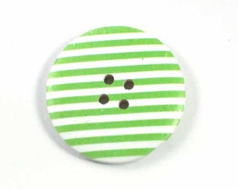Button green and white striped wood 4 cm
