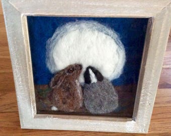 Hare and Badger art. Needle felt 2d fibre art sheeps wool picture in a washed box frame of a badger and hare by moonlight