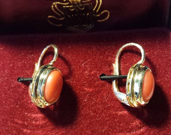 14K Yellow Gold & Red Coral Lever Back Earrings 5.5gr