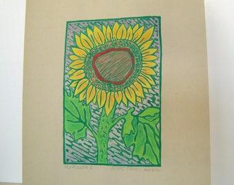 SUNFLOWER II Print - 6.5x4.5. Colored. Green Ink. Linoleum Prints Wall Art Flower Art Hand Printed Linocut Flower Print Block Prints
