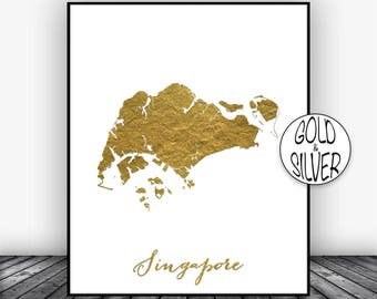 Singapore Print, Singapore Art Print, Gold Wall Decor, Singapore Map Decor, Wall Art Prints, Moving Away Gift Housewarming Gift