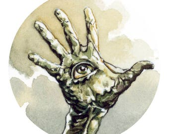 Hand Mine! Watercolour sketch of a Hand Mine from the TV series Doctor Who.