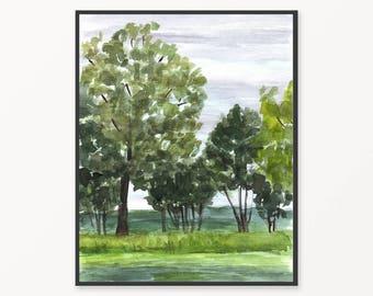 Watercolor painting, printable watercolor art, watercolor landscape painting, printable art, landscape nature print, printable wall art