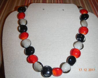 Red/Black/Gray Glass Beaded Single-Strand Necklace