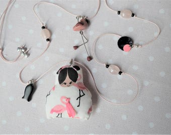 long necklace - baby pink Flamingo cotton