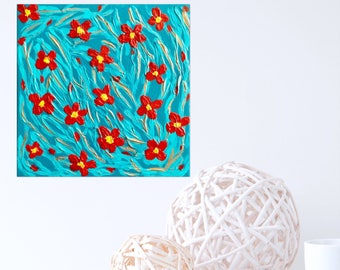 Textured Painting Turquoise Painting with Red Flowers , Textured Canvas Wall  Art Abstract Art Wall Decor Palette Knife Painting