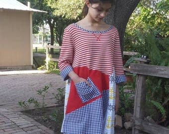 Upcycled Levis XL, fits xsmall to large, tunic, stripes,  anchor, crazy patchwork,  nautical, red, white, yellow, blue