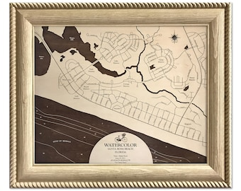 Watercolor Seaside Florida Dimensional Wood Carved Depth Contour Map - Customize With Your Home Information