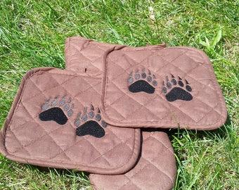 Bear paw potholderset