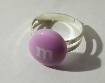 clear round purple m ring