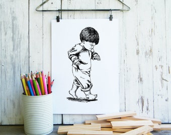 Kids printable, Digital art, children wall decor, Black and white poster, Coloring pages, craft supply, Little boy