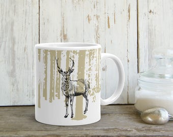Deer Print Mug, Deer Coffee Mug, Tea Cup, Stag Tea Mug, Drink Gifts, Brown White Mug, Woodland Animals, Deer Print, Drinkware, Printed Mug