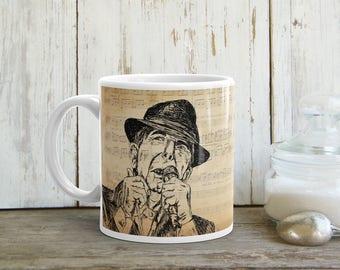 Leonard Cohen Mug, Leonard Cohen Coffee Mug, Tea Mug, Leonard Cohen Gift, Leonard Cohen Tribute, Music Gift, Drinkware, Printed Mug