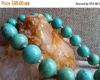 Mid-Summer Joy 10% off Graduated Blue-Green Turquoise Beaded Necklace