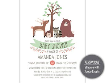 Woodland Friends Baby Shower Invitation Template - Printable --- Green --- #B330-I1-D