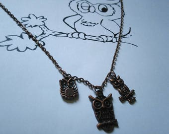 Necklace (copper) with 3 lovely owls