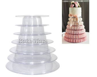 6 Tier Macaron Tower with Cake Plate Topper