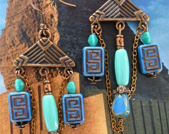 "Pierced ear ethnic ""URUK"" copper metal, Bohemian glass cobalt and turquoise"