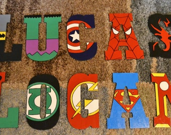 Superhero Customized Hand Painted Wooden Letter