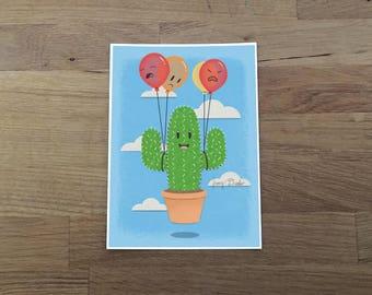 Cactus Hot Air Balloon Print 5x7, cactus art, cute art, ballon art, cute print, cactus lover
