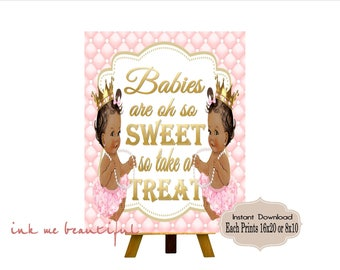 PRINTABLE Twins Baby Shower Candy Buffet Sign Prints 16X20 or 8X10, Princess Baby Shower Decor, Babies are Sweet, Take a Treat