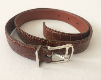 Vintage Ralph Lauren Collection Women's alligator belt with sterling buckle and guide Sz 26