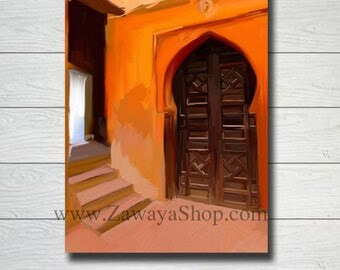 Moroccan door orange oil painting wall art print downloadable, wall art, digital art, cheap art prints