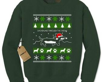 Dachshund Through The Snow Ugly Christmas Adult Crewneck Sweatshirt