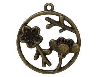 1 PCs pendants Medallion flowers 33X29mm bronze