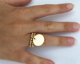 Ring pearls gold filled Medal