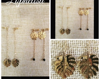 Earrings leaf gold plated brass 3 microns