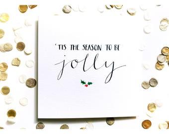 Tis The Season Christmas card, watercolour, typography
