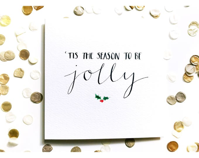 Featured listing image: Tis The Season Christmas card, watercolour, typography