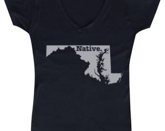 Maryland Native State  - Ladies' V-neck