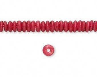 Red Bone Bead, Red Rondelle Beads, 5x2mm, 40 beads, D1056