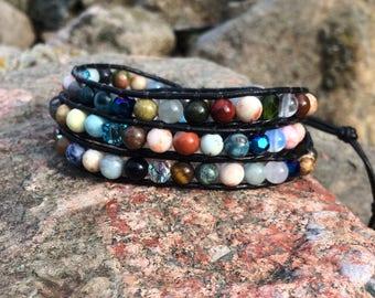 Wrap Bracelet for Women  - Beaded Wrap Bracelet - Multi Gemstone Jewelry - BOHO Jewelry