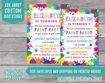 Art/Paint Splatter Personalized Birthday Invitation | Any Age, 4x6 or 5x7, Digital File or Printed