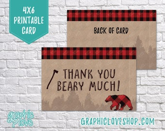 Printable 4x6 Lumberjack Rustic Thank You Card -Folded & Postcard |High Res Digital JPG Files, Instant Download, NOT Editable Ready to Print