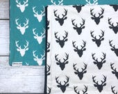 Teal or Black and White Buck Forest Deer Large Baby Blankets