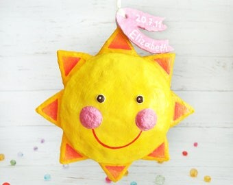 New Born Girl Gifts, Personalized Baby Girl Gift, New Born Sun Decoration, Sun Ornament, Girl Baby Shower Gift, Paper Mache Sun Sculpture