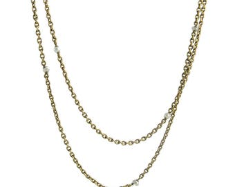 Long Victorian 14K Gold Cultured Seed Pearl Chain Necklace