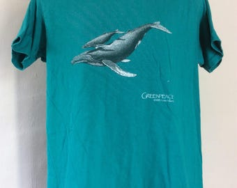 Vtg 1985 Greenpeace Whales T-Shirt Teal L 80s Environmental Sea Life Animal