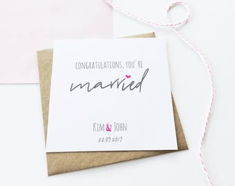 Married Card, Personalised Wedding Card, Personalized Wedding Card, Celebration Card, Congratulations Card, Married Card, Card For Friend