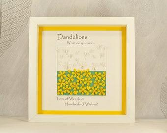 Dandelion wall art made, dandelion wishes wall art, dandelion wishes, quirky gift, positive quote, dandelion art