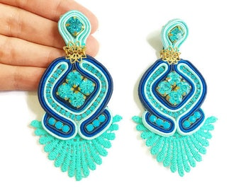 Turquoise soutache earrings, embroidered earrings, soutache braid, navy and turquoise earrings, chandelier earrings, dangle earrings, lace