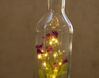 Fairy Lights Bottle Purple Flowers