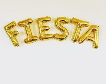 Fiesta Gold Letter Balloons~Final Fiesta Party ~ Taco Party ~ Fiesta Banner ~ Bridal Shower~Engagement Party~ Birthday~16 inch Air Fill Only