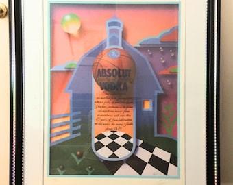 1992 Absolut Vodka Poster/Litho Signed, Numbered, Framed